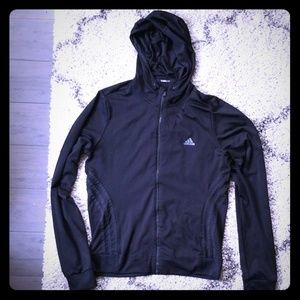 Adidas climalite dry fit black hoodie medium EUC!